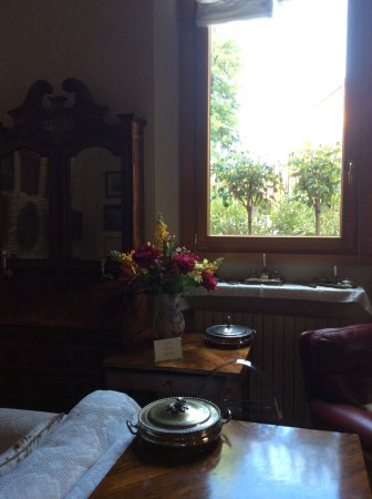 Park View ® B&B : The drawing  room  front window. White roses in full bloom