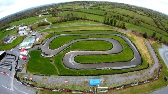 Aerial pic of Pallas Karting's 500m Family/Beginners track, Tynagh, Loughrea, Galway, Ireland