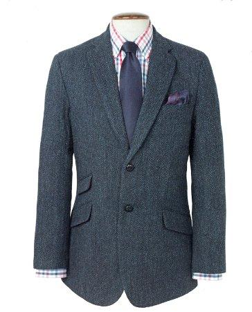 "Harris Tweed Shop: Harris Tweed Limiter Edition Jacket ""Callum"" Blue Herringbone with Paisley Lining"