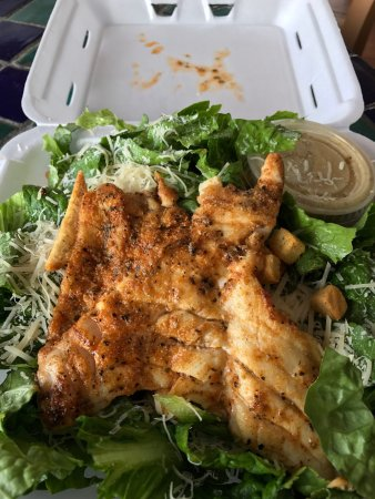 Ocean's Seafoods: Great grilled shrimp and grouper ceaser salads. These pictures are from out first trip. We have