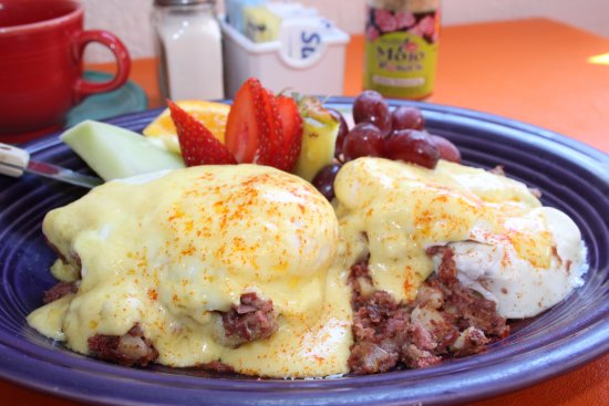 Egg Harbor, WI: Corned Beef Benedict, created with Carla's homemade corned beef.