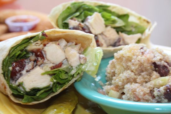 Egg Harbor, WI: Cherry Chicken Salad Wrap, with quinoa salad.