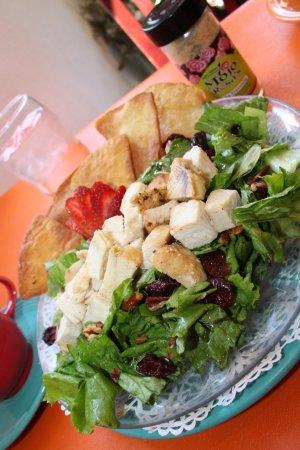 Egg Harbor, WI: Cherry Pecan Ginger Salad, roasted chicken, Door County cherries, pecans, cherry ginger sauce.