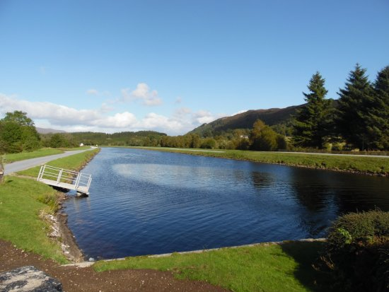 Aberchalder, UK: View along the Caledonian Canal towards Fort Augustus