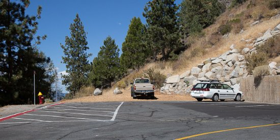 Glenbrook, NV: Parking area at trailhead for Cave Rock