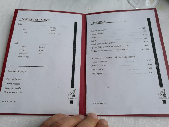 Carta de postres - Restaurant Amiel & Molins (Pont de Molins-Girona)