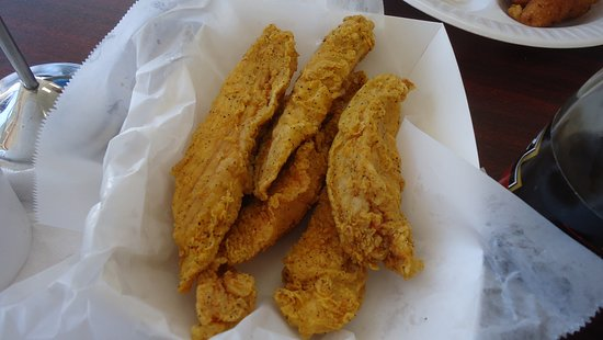 Chicken tenders basket size more than enough plus sides for Carolina fish fry