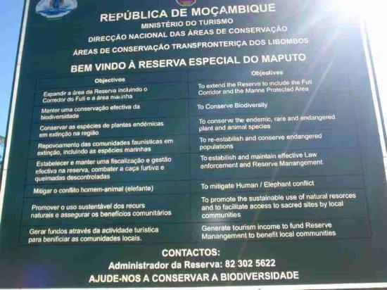 Maputo Elephant Reserve (Reserva Especial de Maputo): Reserve sign