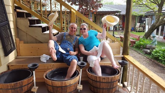 Nashville, IN: One of our favorite couples having fun at the Hillbilly Footwash.