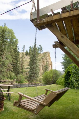 South Fork, CO: View of Piper's Party Pit by the river