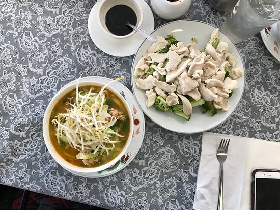 Butte, MT: Pho noodle soup with large plate o chicken and vegetables