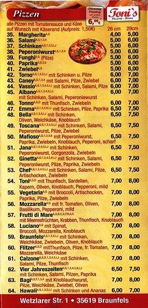 Braunfels, ألمانيا: Speisenkarte