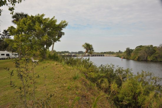 Phipps Park Campground : View of St. Lucie River and locks into Okeechobee Waterway, as seen from our campsite.