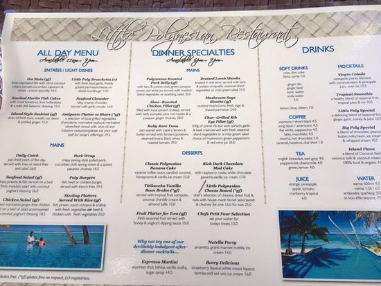 Little Polynesian Resort: Room menu, very similar to restaurant menu