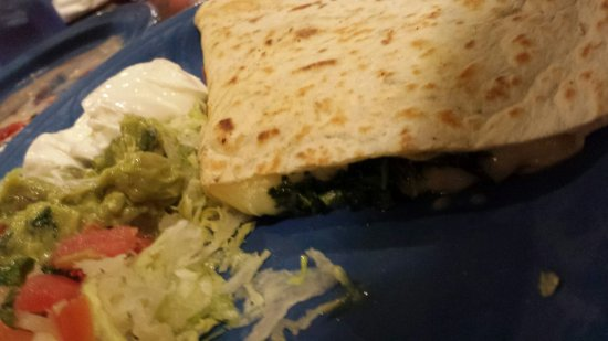 Florissant, MO: Spinach quesadilla with guacamole and sour cream