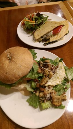 St. Jacobs, Canada: Southern fried chicken sandwich, & veggie press sandwich.