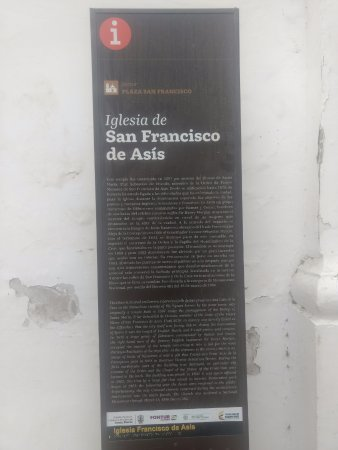 Santa Marta District, Κολομβία: Placa con la historia de la Iglesia de San Francisco de Asis