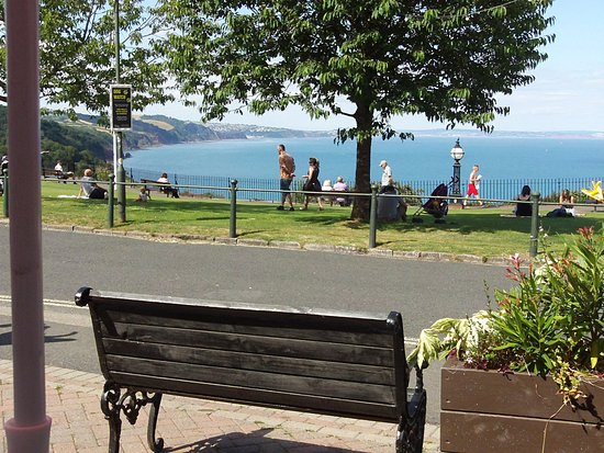 The Downs, Babbacombe: Showing the view towards Exmouth from The Downs forecourt