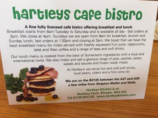 Binegar, UK: Hartley's card