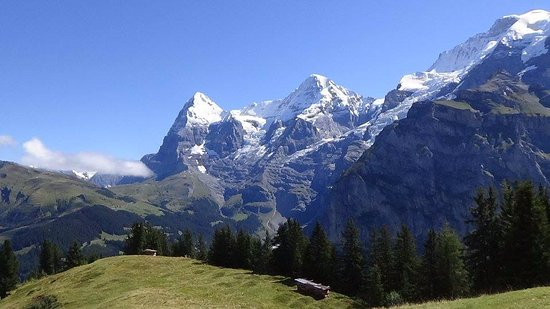 Hotel Eiger: View from Allmendhubel, just behind Murren