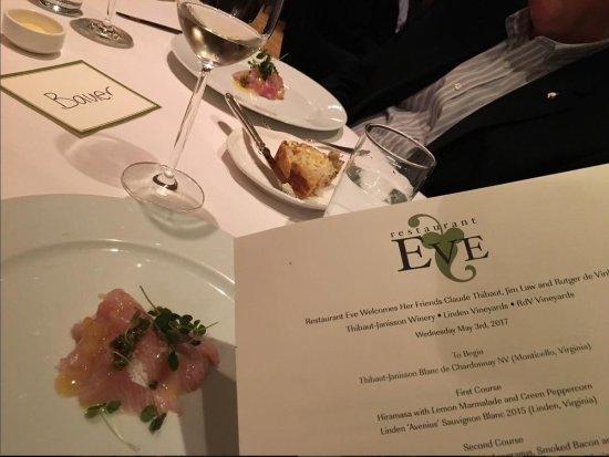 Restaurant Eve : Hiramasa (fish) with lemon marmalade and peppercorns, paired with Virginia Sauv Blanc