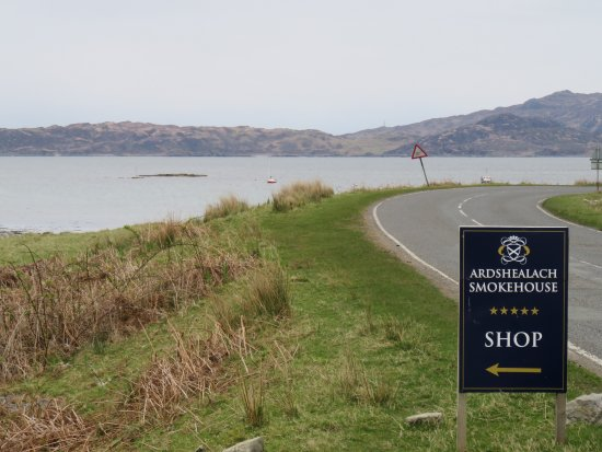 Entrance to smokehouse and view of bay of Glenuig