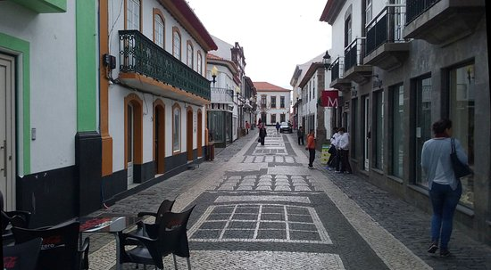 "Praia da Vitoria, Portugal: ""Rua do Jesus"", on mid-morning of a weekday"