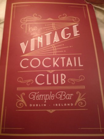 Vintage Cocktail Club: Front of the drinks menu
