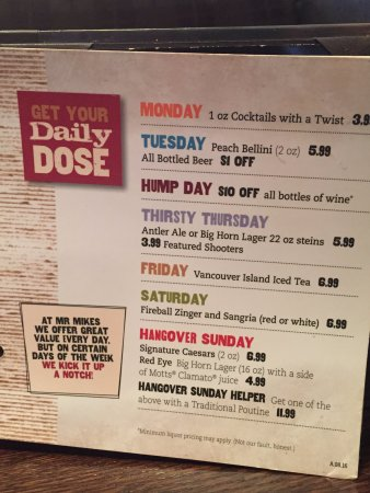 Mr Mikes Steakhouse Casual: Daily drink specials.