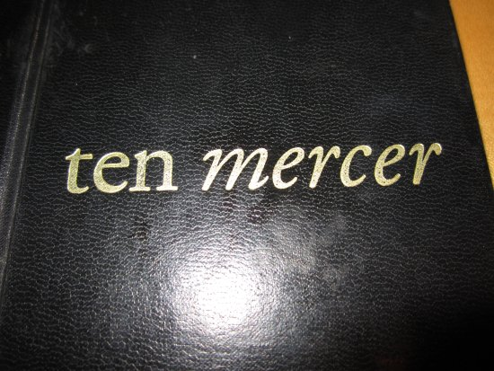 Ten Mercer: Menu