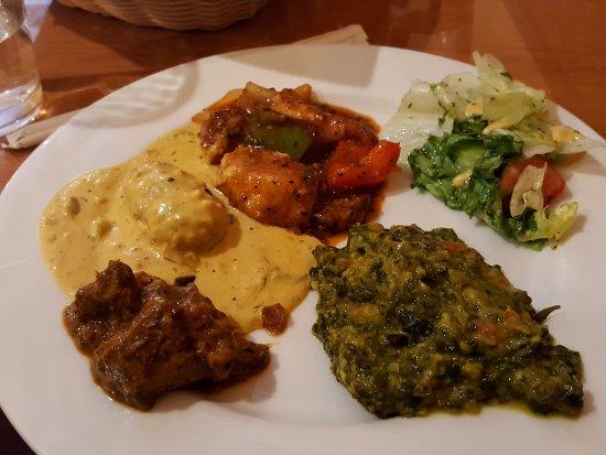 Mango Grill: chili chicken, palak corn, achari gosht