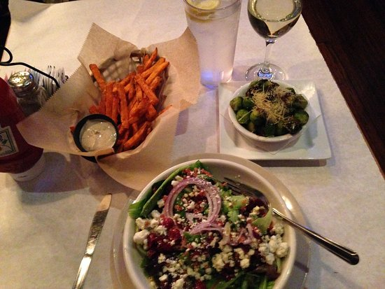 Granville, OH: house salad, sweet potato fries, brussels sprouts