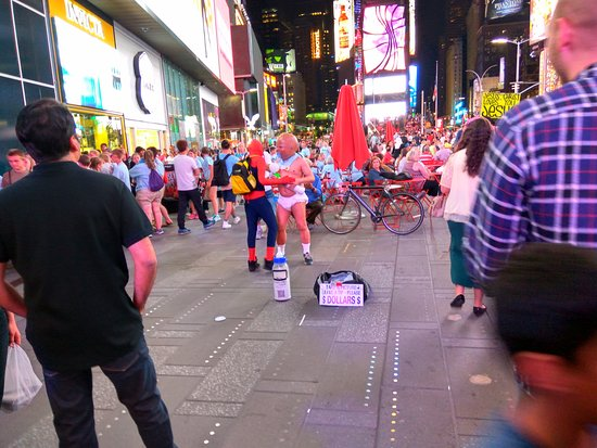 There are fun characters around for pictures times for What to do around times square