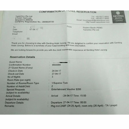 Booking Confirmation Letter   Picture Of Genting Hotel Jurong