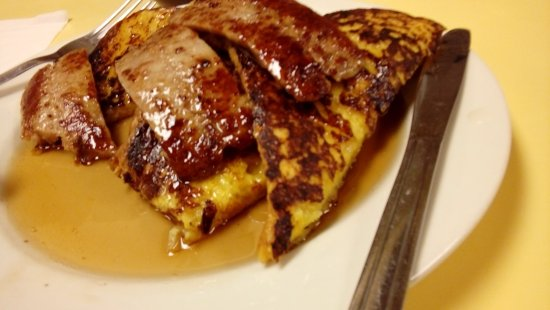 Johny's Luncheonette : French Toast with Sausage and Maple Syrup