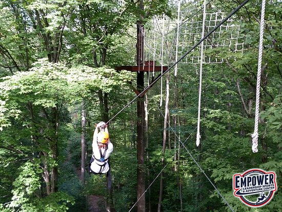 Middletown, CT : After crossing the tight wire, participants are rewarded with a 650 foot zip at EMPOWER