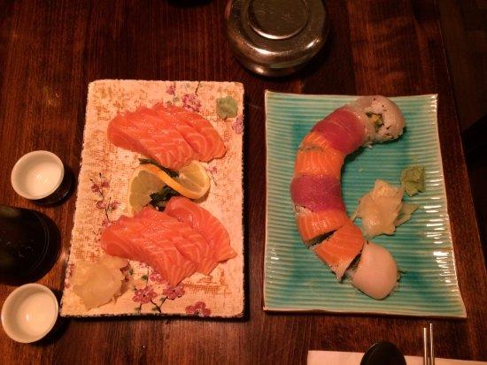 Abonim: salmon sashimi (left) and rainbow roll (right)