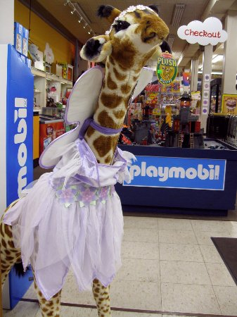 Veach's Toy Station: Veach's giraffe in tutu