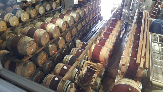 Cutchogue, NY: View from above of the wine barrels