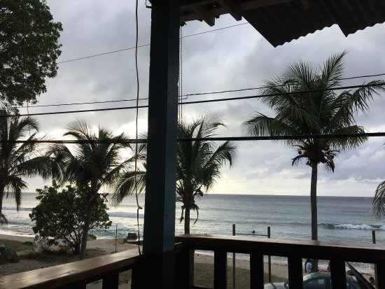 Eat at Cane Bay: Great view. Right on road which got busy but wasn't annoying. Beach is very narrow and looks lik