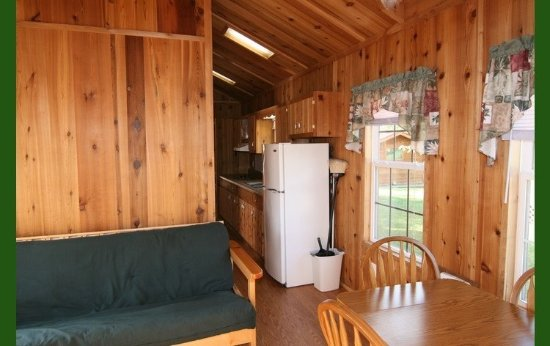 Monticello, IN: IB Crow Cabins 13/14 inside living/dining area