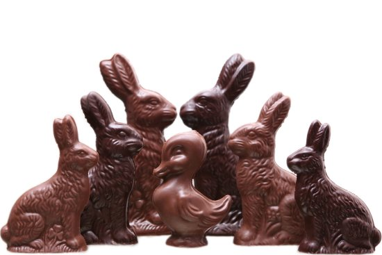 Owatonna, MN: Easter Candy - solid chocolate ducks & bunnies