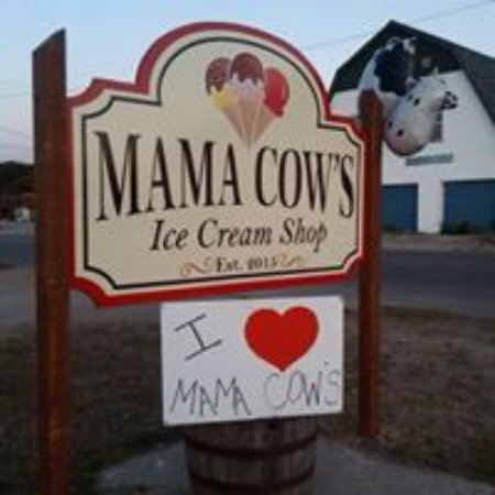 Chatham, Мичиган: Sign in front of Mama Cow's Ice Cream Shop