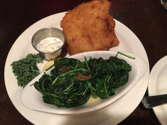 Jeffersonville, IN: Fried fish (2 pieces) and sautéed spinach.