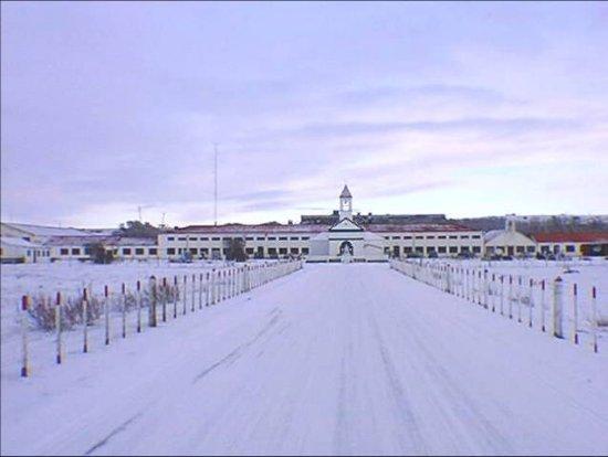 Río Grande: vista invernal de la Ex Misión, hoy Escuela Agrotécnica Salesiana.