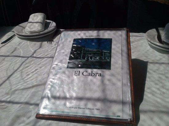 Il menù del Restaurante El Cabra