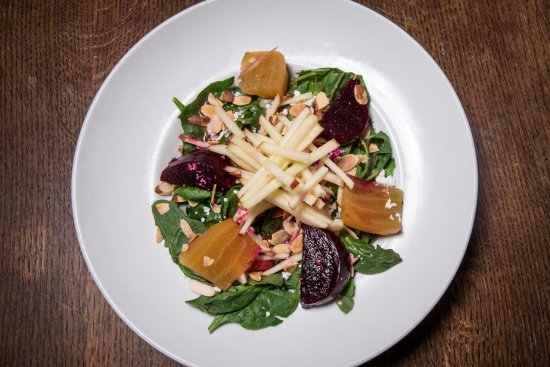 Sisters, OR: Roasted purple and golden beets, goat cheese and toasted almonds on spinach and arugula