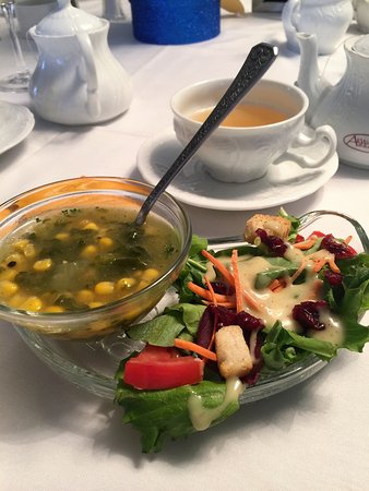Bethany, PA: 2nd Course of Tea Party - Kale & corn soup (special request) & salad.