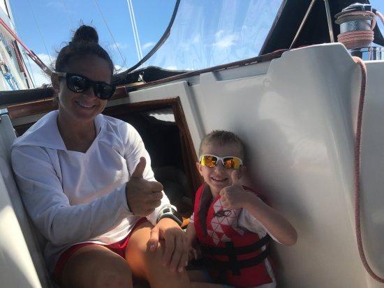 St. John Yacht Charters Survivan: Logan hanging with Jenna