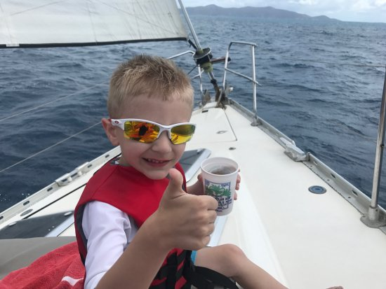 St. John Yacht Charters Survivan: enjoying the view from the bow of the boat